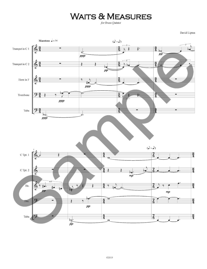 Waits & Measures - Score (Cover Page - Watermarked)